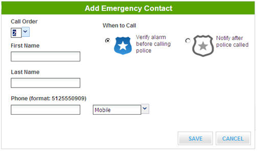 Add emergency contact screen - name and phone number fields -