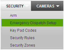 Security tab - E mergency dispatch setup selected