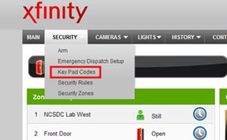 Key pad codes is selected under the security tab.