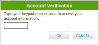 The account verification screen.