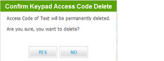 A screen labeled confirm keypad access code delete is displayed.