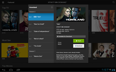 A TV listing showing options in center screen to Play (green button) or Download (white button) in the XFINITY TV Go app for Android devices.