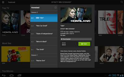 A downloaded TV episode showing a download-expiry date (center screen) in the XFINITY TV Go app for Android devices.