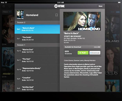 A TV listing shows options in center screen to Play (green button) or Download (white button) in the XFINITY TV Go app for Apple devices.