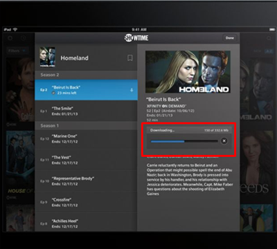 A TV listing with download progress bar (center right) in the XFINITY TV Go app for Apple devices.