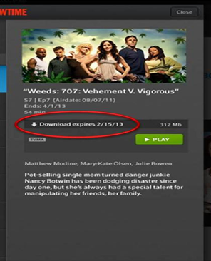 A downloaded TV episode showing a download-expiry date in the XFINITY TV Go app for Apple devices.