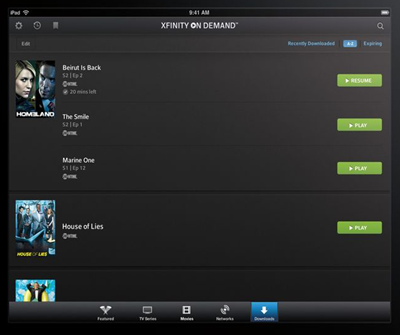 The Download Manager screen in the XFINITY TV Go app for Apple devices displays a vertical list of downloaded movies and shows.