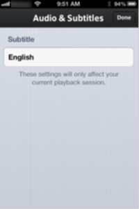 The Audio & Subtitles settings for the XFINITY TV Go app for Apple devices.