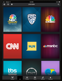 The Live tab in the XFINITY TV Go app for Apple devices.