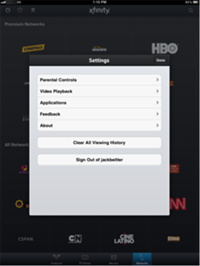 The Settings screen in the XFINITY TV Go app for Apple devices lists options for Parental Controls, Manage Download Devices, Feedback, About, Applications and Sign Out.