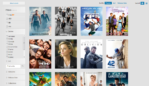 A screen displays poster art of movies available on XFINITY TV Go