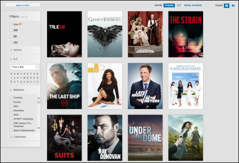 This is of an XFINITY TV Go screen. There are 12 TV series titles across the screen. On the left hand side of the screen, there is a Filter option and below that, a Search option, where one can type in titles.