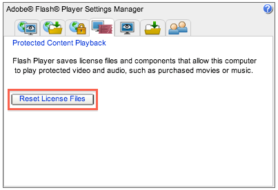 The Reset License Files button is highlighted on the Adobe Flash player settings manager