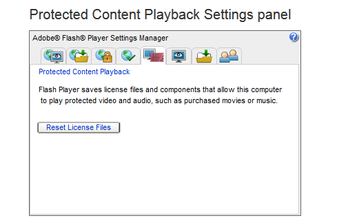 The Reset License Files button is displayed on the Protected Content Playback Settings panel