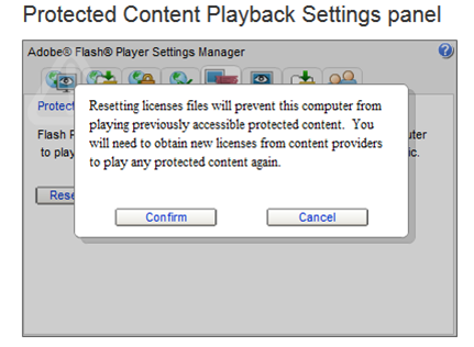 Confirm and cancel buttons (for resetting licenses) are displayed on the Protected Content Playback Settings panel