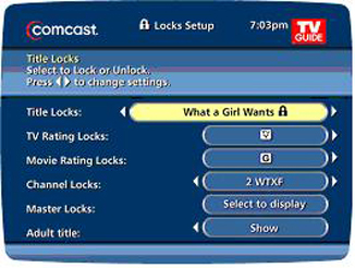 Locks Setup screen displays title, rating, and other fields for locking programs.