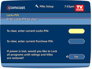 PINs Setup screen displays fields for entering Locks PIN and Purchase PIN.