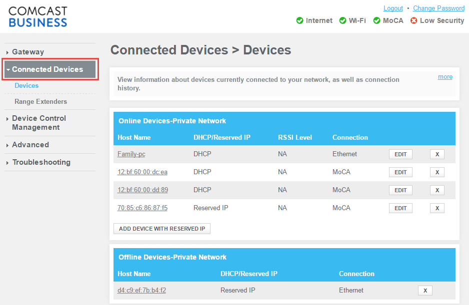 View devices connected to your Comcast Business Private WiFi